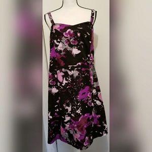 Lane Bryant Black Purple Floral Dress Summer